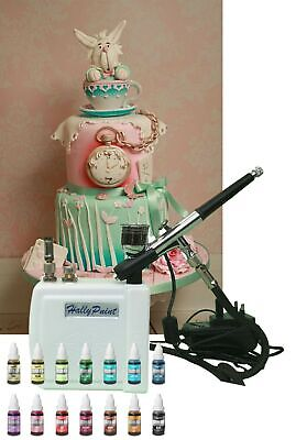 Airbrush & Mini Compressor Cake Decorating Kit, Including 14 x AirBrush colours
