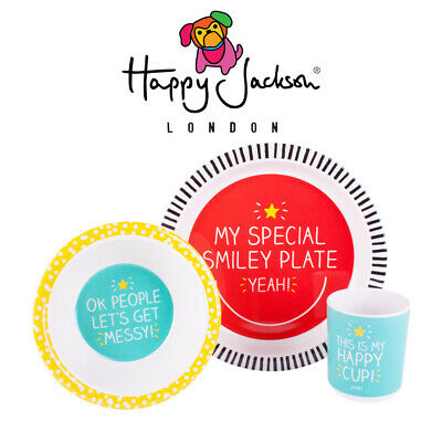 Happy Jackson 3 Piece Melamine Baby Dinner Set - Dishwasher Safe