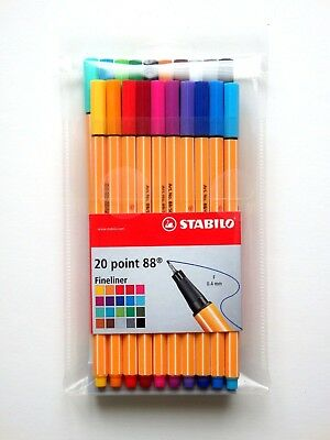 Stabilo Point 88 Pen Fineliner 0.4mm 20 Color Fine Tip Drawing Writing Art Set