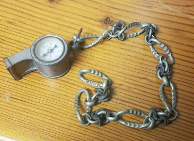 Vintage Old Metal Whistle With Built In Compass And Nice Chain