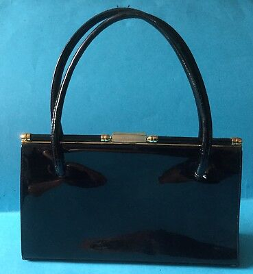 Riviera Of London 1960's Vintage Black Leather Hand Bag, Un-used, Lacquered