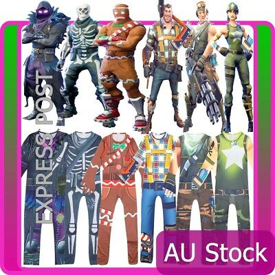 Kids Boys Girls Fortnite Cosplay Costume Jumpsuit Playsuit Halloween Fancy Dress