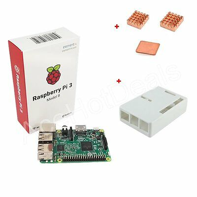 Raspberry Pi 3 Model B 1GB RAM 1.2GHz CPU + White ABS Case + Heat Sink Kit