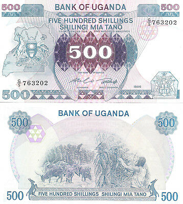 UGANDA 500 Shillings Banknote World Paper Money UNC Currency Pick p25 1986 Bill