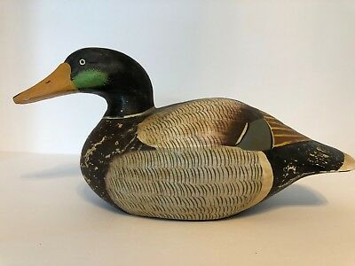 Vintage Wooden Duck Decoy Hand Carved and Hand Painted with Painted Eyes.