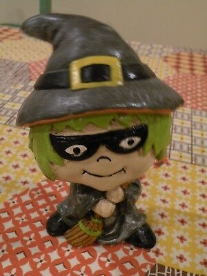 Bobblehead Nodder Halloween Witch  With Broom, Green Hair
