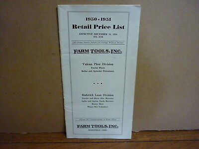 Farm Tools, Inc. 1950-51 Retail Price List. Vulcan Plow Div. Harrows, etc. VG+