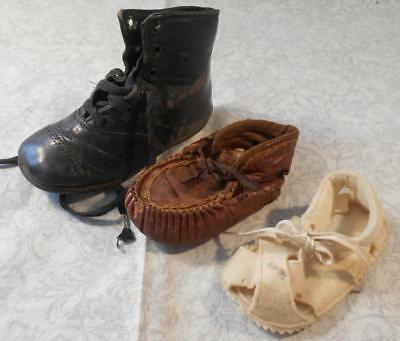 3 Single Vintage Children's, Baby Shoes,1 High Top,1 Felt, 1 Leather Moccasin