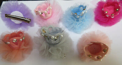 White Pearl Net Flower Crown Grip Kids Hair Pins Clips Prom Wedding Bridal Party