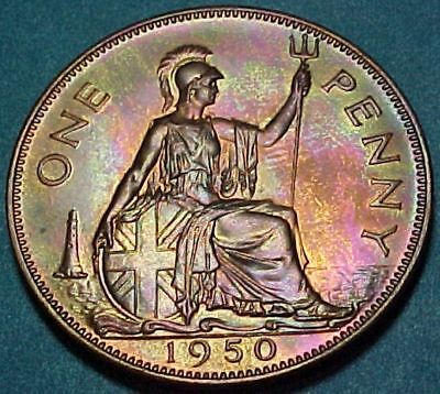 Great Britain UK - 1950 - Penny - Proof - Toned Red Brown