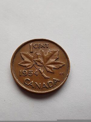 Canada 1954 1 Cent Copper Canadian Penny Coin