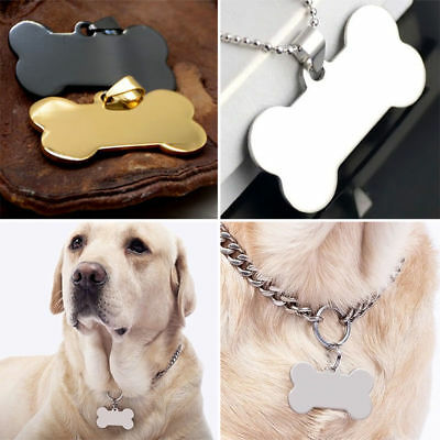 AC_ EG_ Personalized Engraved Stainless Steel Dog Cat Pet ID Name Blank Bone Tag