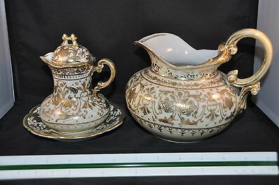 Beautiful Antique 4-Piece Hand Painted Nippon Pitcher Set - Gold on White