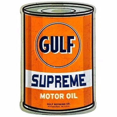 GULF, PENNZOIL, QUAKER STATE Embossed & Curved Tin Oil Can Sign. Mancave, Cars