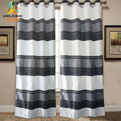 Window Curtain Panel Drapes Bedroom Hook Striped Curtains Home Decor Black White