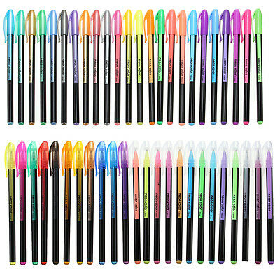 Gel Set Pen Glitter Pens Coloring Colors Art Color Neon 48 pc Adult Metallic Ink