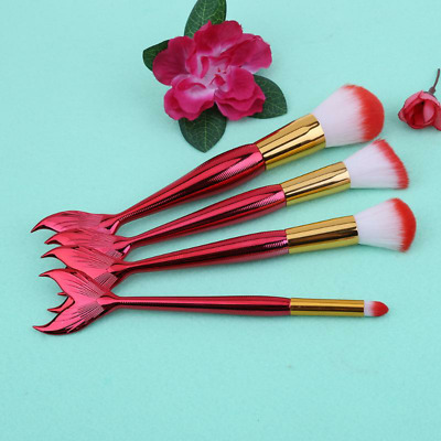 Makeup Kit Mermaid Tail Fish Brushes Set Foundation Eyeshadow Cosmetic Powder
