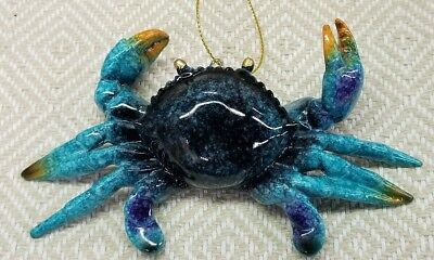 Blue Crab Hanging Christmas Ornament Nautical Beach Coastal Decor - NEW