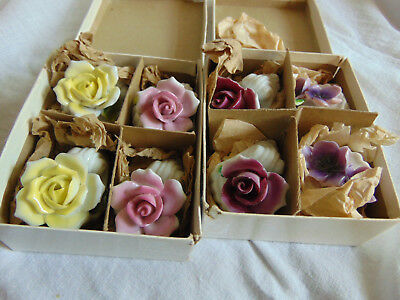 2 Set Of 4 Vintage Porcelain Flower Place Card Holders #3601 Japan
