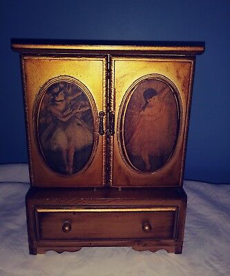 Vtg Wood French Provincial JEWELRY BOX With Drawers Musical Ballet Edgar Degas