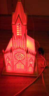 Vintage RAYLITE ELECTRIC CORP LIGHTED CHURCH Plastic Christmas Cathedral