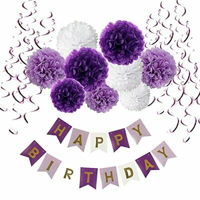 Birthday Decorations, Recosis Happy Birthday Banner Bunting with Tissue Paper Po