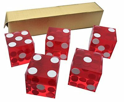 5 x RED NEW PERFECT 19MM PRECISION CASINO DICE  CRAPS STUNNING