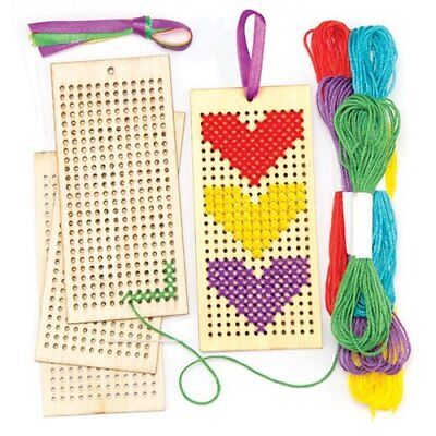 Baker Ross Wooden Bookmark Cross Stitch Kits Pack Of 4 For Kids Arts and Craft
