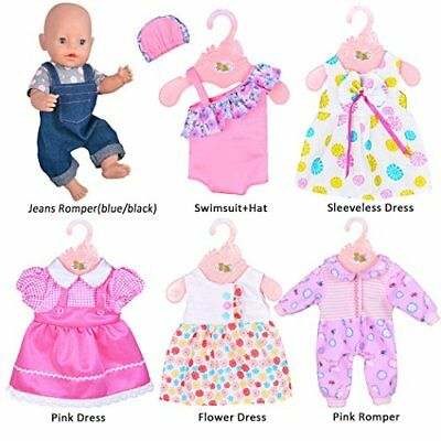 ebuddy 6 Sets Doll Clothes Outfits Costume for 14 to 16 Inch New Born baby Dolls