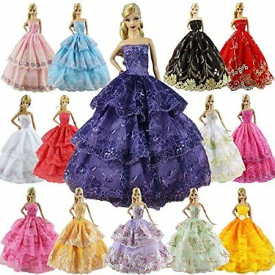 ZITA ELEMENT 6 PCS Fashion Handmade Wedding Party Dress Gown for Barbie Doll XMA