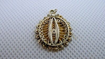 Rare old Palestine eye shaped Silver Filigree Hinged Lid Perfume Pendant