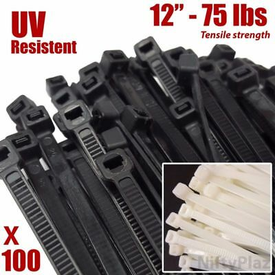 "100 Zip Ties Heavy Duty 12"" 75 lbs Cable Cord Strap Wire Nylon Wrap Bulk US"