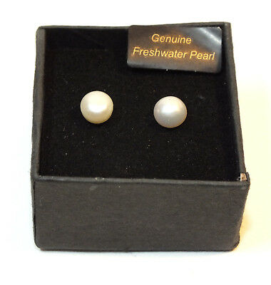 Freshwater Pearl Earrings Stud Button White Pearls Silver Plated Setting 6mm