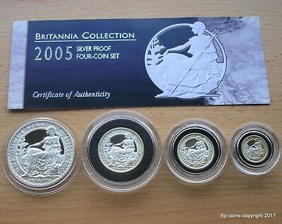 Royal Mint 2005 Silver Proof Britannia Four Coin Set Box + Cert.