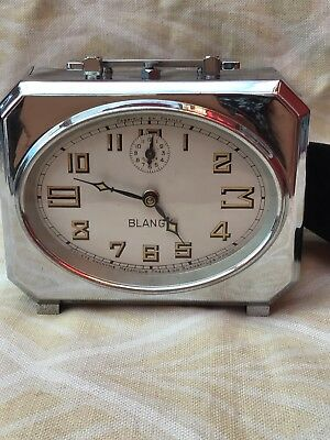 Vintage French Art Deco BLANGY chrome Alarm Clock - All Working