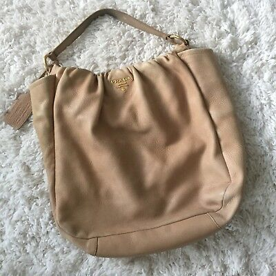 f65f52b2b60b ... canada prada milano dal 1913 hobo bag authentic deerskin leather tan  brown open top 1f634 7bdaa