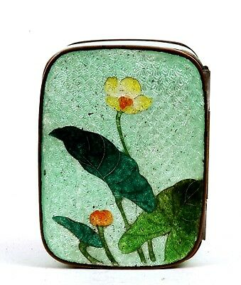 Old Japanese Ginbari Cloisonne Enamel Shippo Box with Flowers