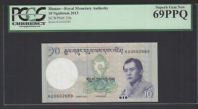 Bhutan 10 Ngultrum ND(2013) P29b Uncirculated Graded 69