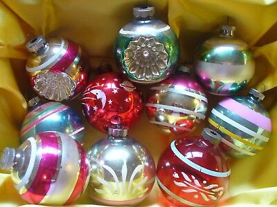Lot of 10 Vintage Mercury Glass Ball Christmas Ornaments 2 Indents Shiny Brite +