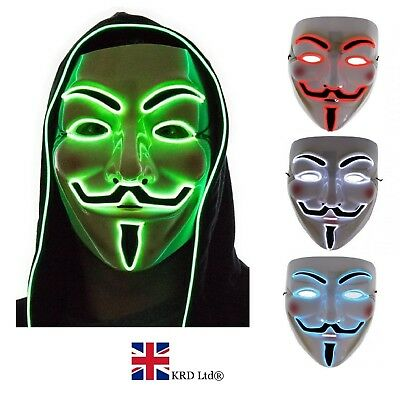 LIGHT UP ANONYMOUS MASK Guy LED Halloween Cosplay Vendetta Hacker Costume NEW UK