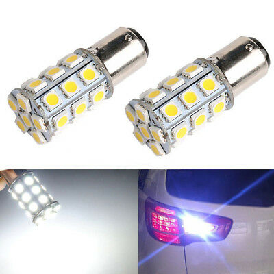2pc 1157 BAY15D P21 5W 27 SMD 5050 Car 12V LED Tail Brake Rear Light Lamp Yellow