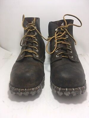 "German WW2 Mountian Troop Leather Boots Size ""11""  Hob Nail Post War Swiss Made"