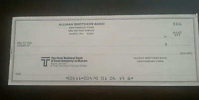 RARE 1970s ALLMAN BROTHERS BAND FUND UNUSED CHECK GREGG DUANE DICKEY BETTS