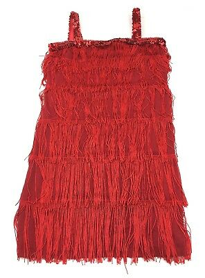 Flapper Womens Ruby Red Tassels/Fringe Party Dress Costume  USA Size S
