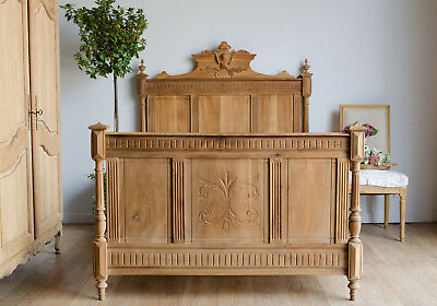 French 19th Century Oak and Fruitwood Double Bed with New Slats