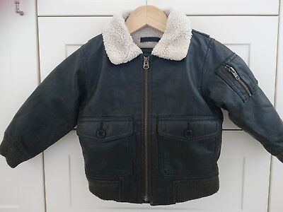 Gap boy furry collar lining faux leather bomber jacket 3 years VGC