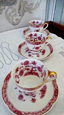 Théodore Haviland  Limoge France 3 antique  tasses et soucoupes porcelaine filet