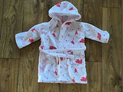 Little White Company Baby Girl Dressing Gown Bears & Trees 12-18-24-30 Months