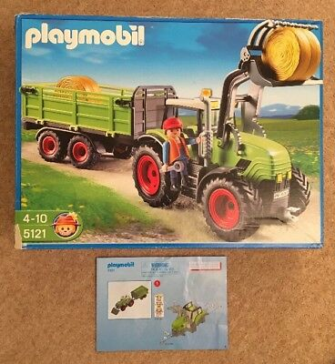 Playmobil 5121 Country Farm Tractor With Trailer Original Box