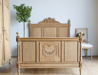 French 19th Century Light Oak Double Bed with New Slats